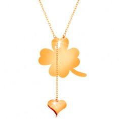 Nyaklánc 14K sárga aranyból - négylevelű lóhere és függő szív, fényes lánc
