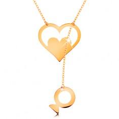 14K sárga arany nyakék - szív körvonal egy függő halacskával