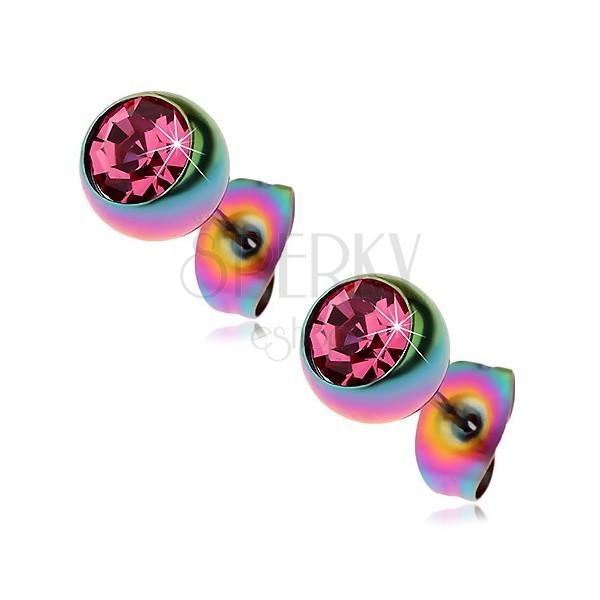 Acél fülbevaló, szivárványos golyók rózsaszín cirkóniával, 7 mm
