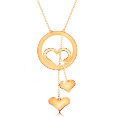 585 arany nyaklánc - szív körvonal egy körben és két függő szívecske láncokon
