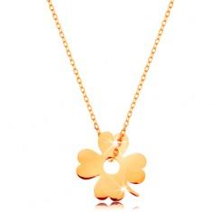 14K arany nyaklánc - csillogó, vékony lánc, medál - szerencsét hozó négylevelű lóhere