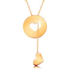 Nyaklánc 14K sárga aranyból - kör szív alakú kivágással és függő szívvel
