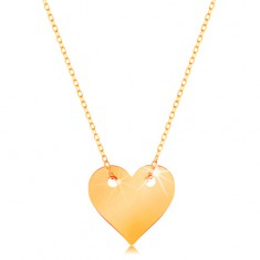Nyaklánc 14K sárga aranyból - kis, szimmetrikus, lapos szív, finom lánc