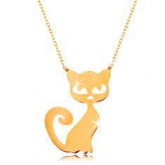 14K arany nyaklánc - lapos medál - macska, finom, csillogó lánc