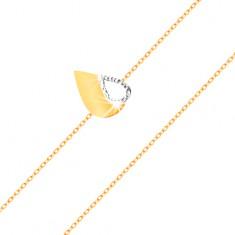 14K arany karkötő - vékony lánc, kétszínű lapos könnycsepp kivágással