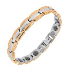 Karkötő sebészeti acélból, Y - elemek arany és ezüst színek kombinációjában