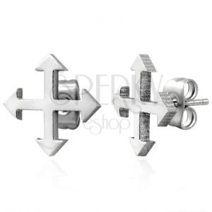Acél fülbevaló ezüst árnyalatban - négy égtáj
