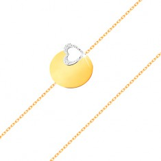 14K arany karkötő - vékony lánc, fényes felületű lapos karika, szív körvonal fehér aranyból