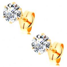 Fülbevaló 14K sárga aranyból - átlátszó, kerek cirkónia foglalatban, 4 mm