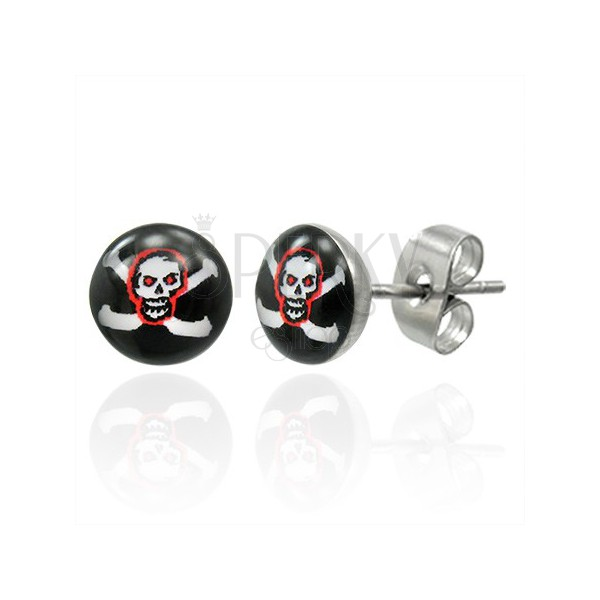 Fülbevaló acélból - vörös koponya és fehér kereszt