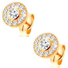 14K sárga arany fülbevaló - csillogó karika átlátszó cirkóniákkal, stekkerek