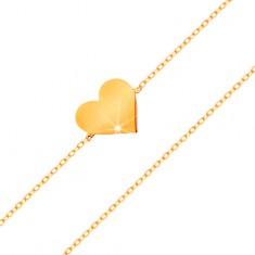 Karkötő 14K sárga aranyból - csillogó, vékony lánc, medál - lapos szív