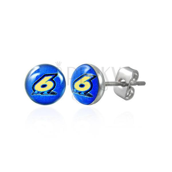 Kerek acél fülbevaló – hatos számjegy kék háttéren, átlátszó fénymáz, beszúrós fülbevaló