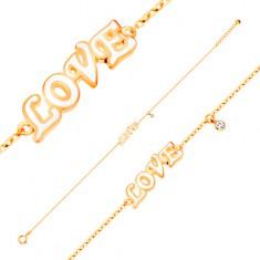 Karkötő 14K sárga aranyból, medálok - átlátszó cirkónia és fehér fénymázas LOVE felirat