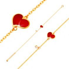 14K sárga arany karkötő - piros aszimmetrikus szív és átlátszó cirkónia, vékony lánc
