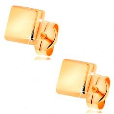 585 sárga arany fülbevaló - fényes, kidomborodó négyzet, stekkeres kapcsolás
