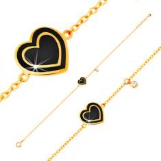 Karkötő 585 sárga aranyból, medálok - cirkónia és szív fekete fénymázzal