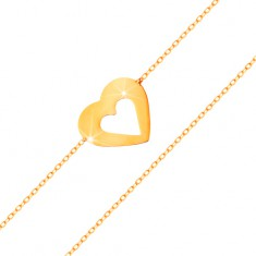 14K sárga arany karkötő - vékony lánc, lapos szív körvonal, fényes és sima felület