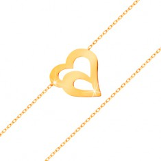 585 arany karkötő - finom lánc ovális szemekből, dupla szív körvonal