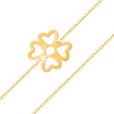 Karkötő 585 sárga aranyból - szerencse szimbólum, négylevelű lóhere kivágásokkal, fényes lánc