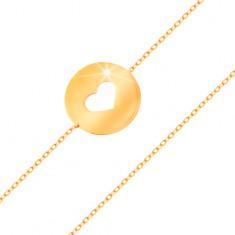 14K arany karkötő - kör szív alakú kivágással és lapos, fényes felülettel