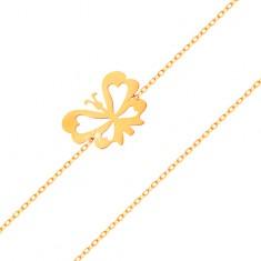 Karkötő 14K sárga aranyól - finom lánc, lapos lepke kivágott szárnyakkal