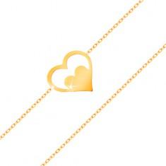 Karkötő 14K sárga aranyból - szív körvonal szívecskével, vékony lánc