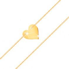 Karkötő 14K sárga aranyból - kis, szimmetrikus, lapos szív, finom lánc