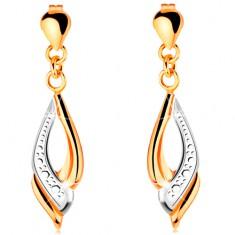 Függő fülbevaló 14K kombinált aranyból - könnycsepp és csillogó csepp körvonal