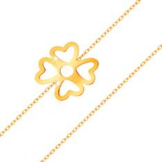585 sárga arany karkötő - szerencse szimbólum, négylevelű lóhere kivágásokkal, fényes lánc