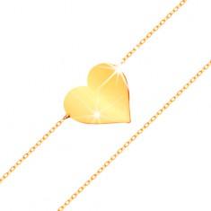 Karkötő 14K sárga aranyból - tükörfényes, lapos szív, csillogó, vékony lánc