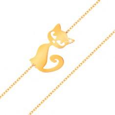 585 arany karkötő - finom, csillogó lánc, lapos medál - macska