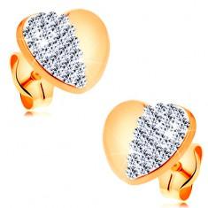 Fülbevaló 14K sárga aranyból - fényes, szimmetrikus szív csillogó féllel