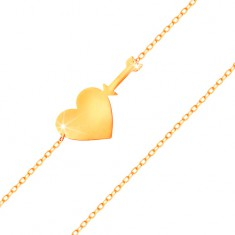 Karkötő 585 sárga aranyból - vékony, csillogó lánc, fényes, lapos szív és nyíl