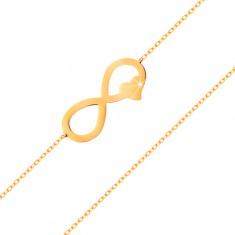 585 arany karkötő - vékony lánc, lapos végtelen szimbólum szívvel