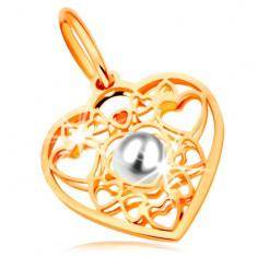 Medál 585 sárga aranyból - szív szívecske körvonalakkal díszítve és fehér gyönggyel a közepén