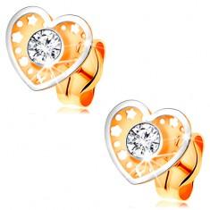 Kétszínű fülbevaló 14K aranyból - szív apró kivágásokkal és átlátszó cirkóniával