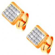 14K sárga arany fülbevaló - négyzet átlátszó Swarovski krisállyal kirakva