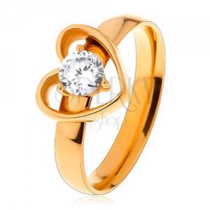 49c39a983 Gyűrű sebészeti acélból arany színben, szív körvonal átlátszó ...