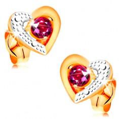 585 arany fülbevaló - piros rubin kétszínű szív körvonalban, gravírozott