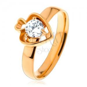 5af2b329f Acél gyűrű arany színben, két szív körvonal és kerek átlátszó ...
