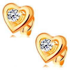 585 arany fülbevaló - szimmetrikus szív körvonal, kiemelt átlátszó cirkónia középen
