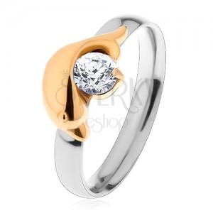 f6d44ccc8 Acél gyűrű ezüst és arany színben, delfin és csillogó átlátszó ...