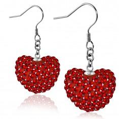 Acél fülbevaló - csillogó piros szív cirkóniákkal díszítve, horgok