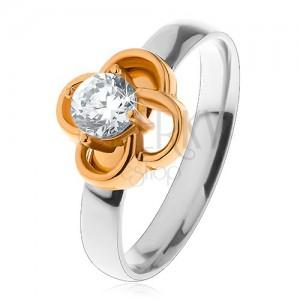 b26863de3 Acél gyűrű ezüst árnyalatban, virág arany színben átlátszó ...