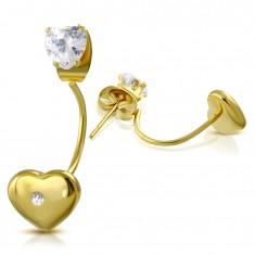 Acél fülbevaló arany színben, átlátszó szívecske és szív cirkóniával stekkeren