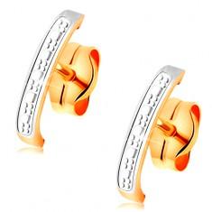 585 két színű arany fülbevaló - enyhén gravírozott ív fehér aranyból