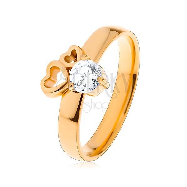 6529a12c7 Sebészeti acél gyűrű arany színben, két szív körvonal, átlátszó ...