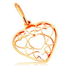 14K arany medál - szív körvonal, további szívek körvonalával díszítve