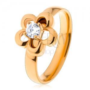 d065742e9 Acél gyűrű arany árnyalatban, virág, kiemelkedő kerek cirkónia ...